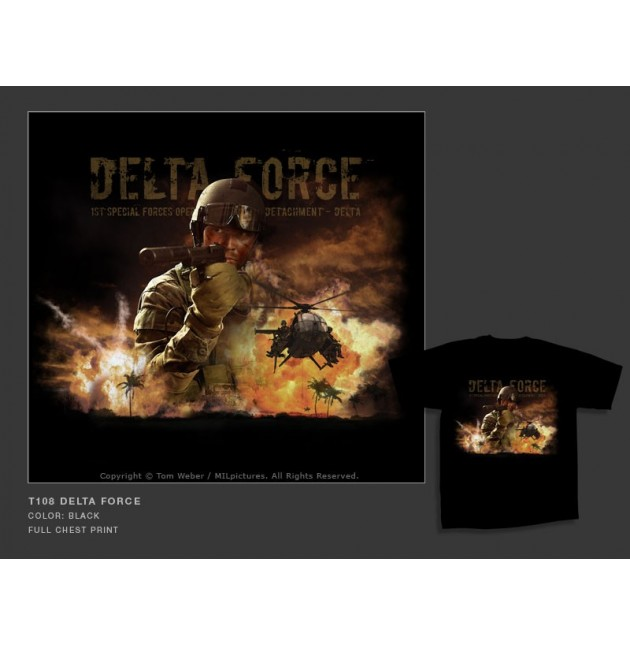 Camiseta MilPictures  DELTA FORCE, Color negro, Talla S