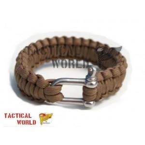 Bracelete Paracord coyote, cierre acero