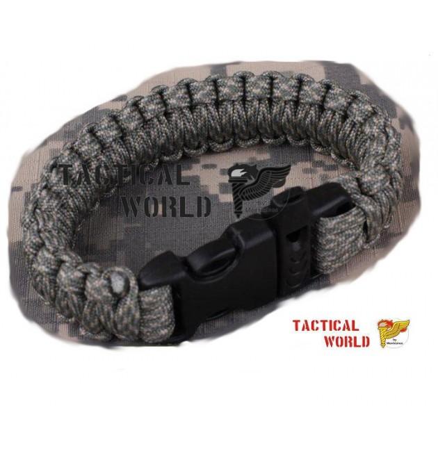 Bracelete Paracord ACU, cierre Clip y silbato
