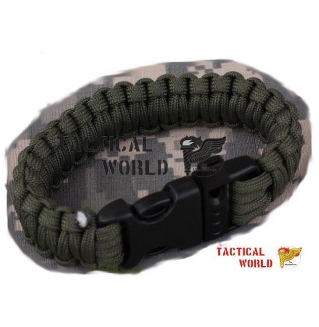 Bracelete Paracord verde, cierre Clip y silbato