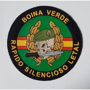 PARCHE BOINA VERDE RAPIDO SILENCIOSO LETAL, NEGRO